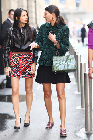 How to wear: dark green lace long sleeve blouse, black skater skirt, burgundy leather loafers, green leather satchel bag