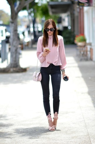 Women's Pink Long Sleeve Blouse, Black Skinny Jeans, Pink Leather Heeled Sandals, Pink Leather Crossbody Bag