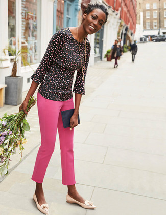 How to wear: black polka dot long sleeve blouse, hot pink skinny pants, beige leather tassel loafers, navy leather clutch