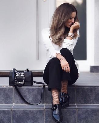 How to wear: white long sleeve blouse, black tapered pants, black fringe leather loafers, black embellished leather crossbody bag