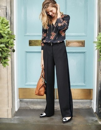 How to wear: black floral long sleeve blouse, black wide leg pants, black and white suede tassel loafers, tan leather tote bag