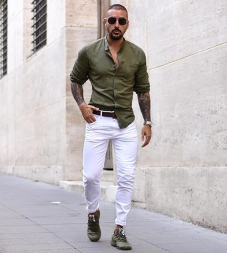 How to wear: olive long sleeve shirt, white chinos, olive athletic shoes, dark brown leather belt