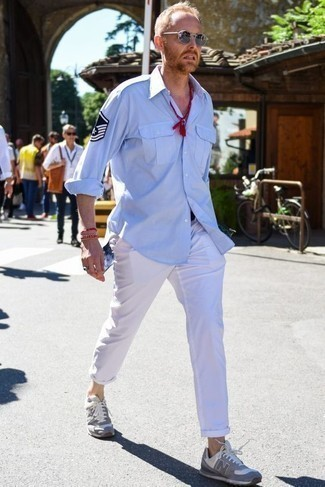 How to Wear Silver Sunglasses For Men: Putting together a light blue long sleeve shirt with silver sunglasses is an awesome pick for a cool and casual outfit. Grey athletic shoes integrate smoothly within a ton of combos.