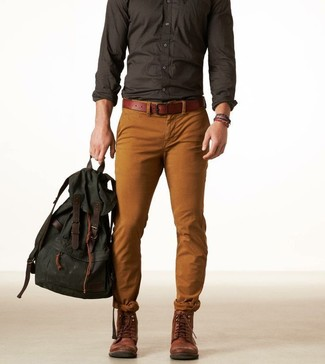 Men's Charcoal Long Sleeve Shirt, Tobacco Chinos, Dark Brown Leather Boots, Dark Green Canvas Backpack