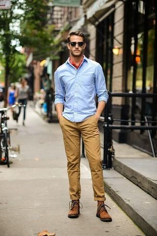 Men's Light Blue Long Sleeve Shirt, Khaki Chinos, Brown Suede Casual Boots, Red Bandana