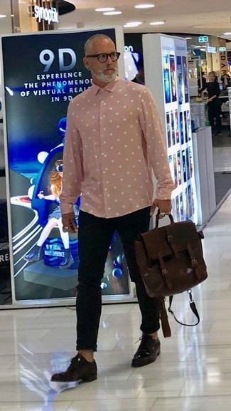 How to wear: pink polka dot long sleeve shirt, black chinos, dark brown leather derby shoes, dark brown leather briefcase