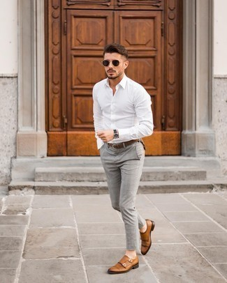 White Long Sleeve Shirt Outfits For Men: A white long sleeve shirt and grey plaid chinos are the perfect foundation for a multitude of outfits. Why not take a classier approach with footwear and complement this look with a pair of tobacco leather double monks?