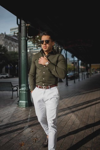 Men's Looks & Outfits: What To Wear In 2020: Pair an olive long sleeve shirt with white chinos to assemble a casually stylish ensemble. When in doubt as to what to wear on the footwear front, complement this outfit with dark brown leather driving shoes.