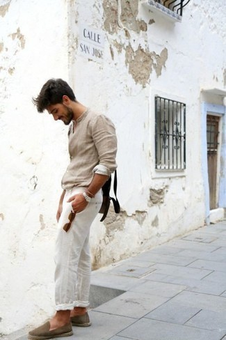 How to Wear Espadrilles For Men: A stylish combo of a beige linen long sleeve shirt and white linen chinos will bring confidence and you'll carry yourself with more self-assurance. The whole outfit comes together really well if you complete this ensemble with a pair of espadrilles.
