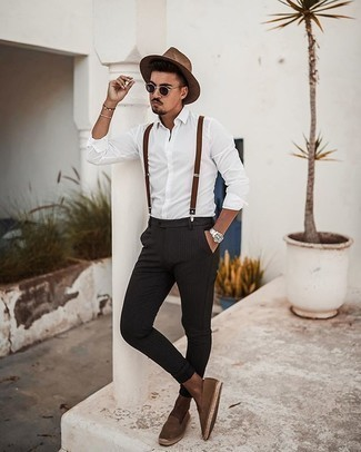Brown Suspenders Outfits: Beyond stylish and comfortable, this pairing of a white long sleeve shirt and brown suspenders provides with variety. Break up this outfit with a dressier kind of footwear, like these brown suede espadrilles.