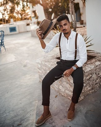 Suspenders Outfits: Rock a white long sleeve shirt with suspenders for a casual getup that's easy to pull together. Our favorite of a myriad of ways to round off this outfit is a pair of tan suede espadrilles.