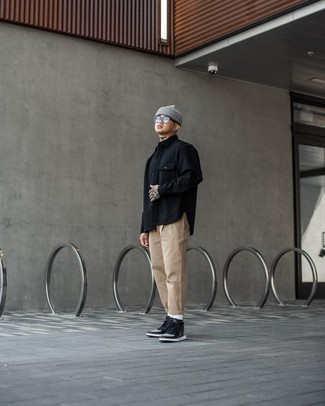 Grey Beanie Outfits For Men: A black wool long sleeve shirt and a grey beanie are a wonderful look to add to your day-to-day collection. Black leather high top sneakers will bring a dash of sophistication to an otherwise mostly dressed-down outfit.