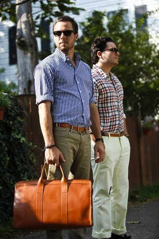 Men's White and Blue Gingham Long Sleeve Shirt, Khaki Chinos, Tobacco Leather Holdall, Multi colored Canvas Belt