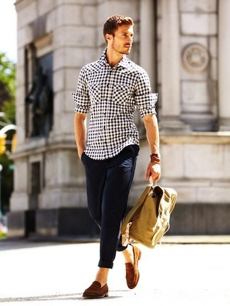 Men's White and Black Gingham Long Sleeve Shirt, Navy Chinos, Brown Suede Loafers, Brown Backpack