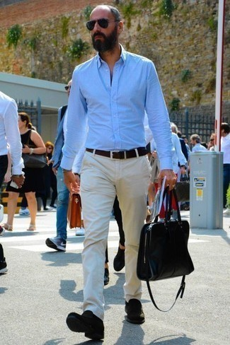 Men's Looks & Outfits: What To Wear In 2020: A light blue long sleeve shirt and white chinos worn together are a wonderful match. Infuse this ensemble with a touch of elegance by slipping into a pair of black suede loafers.