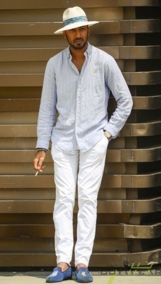 How to Wear a White Straw Hat For Men: This combo of a light blue vertical striped long sleeve shirt and a white straw hat has this very casual and effortless kind of vibe. If you feel like playing it up, add a pair of blue velvet loafers to this outfit.