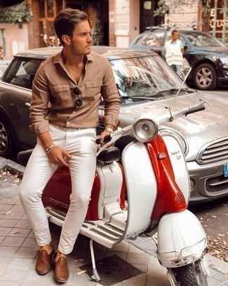 White Chinos Outfits: If you'd like take your casual game to a new level, wear a tan long sleeve shirt with white chinos. Complement your outfit with brown woven leather loafers to easily dial up the classy factor of this ensemble.