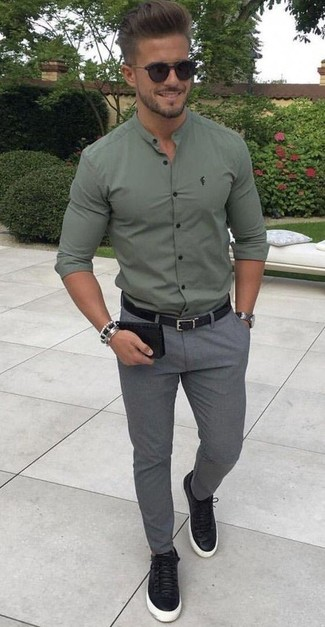 How to wear: olive long sleeve shirt, grey wool chinos, black leather low top sneakers, black leather belt