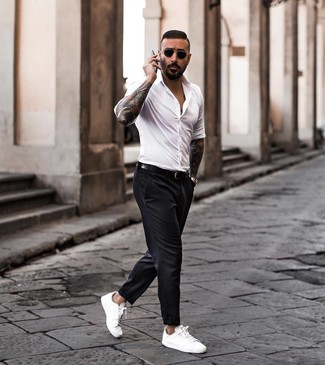 How to wear: white long sleeve shirt, black chinos, white leather low top sneakers, black leather belt