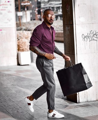 How to wear: dark purple long sleeve shirt, grey chinos, white print leather low top sneakers, black leather belt