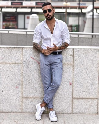 How to wear: white long sleeve shirt, light blue chinos, white low top sneakers, black leather belt