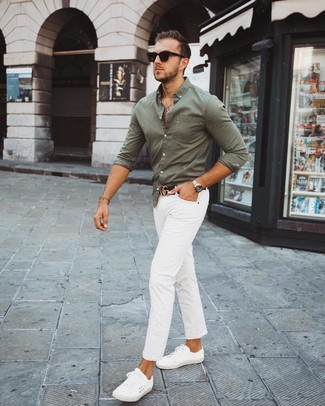 How to wear: olive long sleeve shirt, white chinos, white low top sneakers, black leather belt