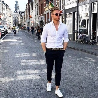 How to Wear a Brown Woven Leather Belt For Men: This sharp look is super simple: a white long sleeve shirt and a brown woven leather belt. For something more on the classier end to finish this look, opt for a pair of white leather low top sneakers.