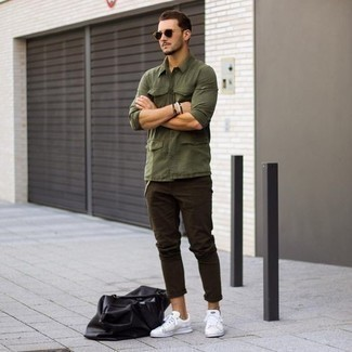 How to Wear a Black Leather Duffle Bag For Men: Opt for an olive long sleeve shirt and a black leather duffle bag, if you prefer to dress for comfort but also want to look stylish. If you need to effortlessly up the style ante of your ensemble with one piece, complete your outfit with white leather low top sneakers.