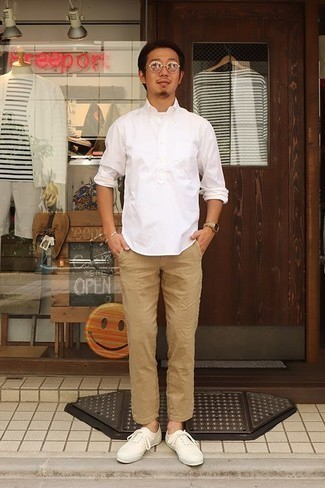 How to Wear Tan Sunglasses For Men: A white long sleeve shirt and tan sunglasses are a great combo to integrate into your daily routine. Throw a pair of white canvas low top sneakers in the mix to make the outfit slightly more refined.