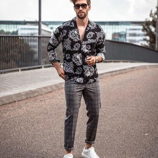 Black Long Sleeve Shirt with Plaid Pants Outfits For Men: If you like classic combinations, then you'll like this combo of a black long sleeve shirt and plaid pants. For a more refined spin, why not complement this look with white canvas low top sneakers?