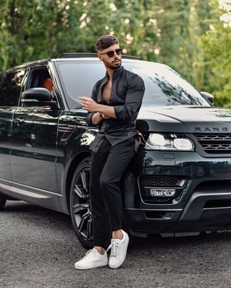 Black Watch Warm Weather Outfits For Men: Consider wearing a black long sleeve shirt and a black watch for an outfit that's both urban and on-trend. Here's how to polish up this getup: white canvas low top sneakers.