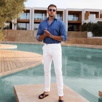 Sandals Outfits For Men: If you gravitate towards casual style, why not test drive this combo of a blue long sleeve shirt and white chinos? Don't know how to finish off? Introduce a pair of sandals to the mix for a more relaxed vibe.