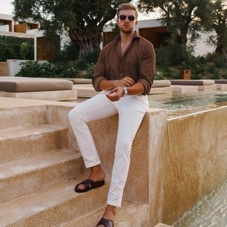 Sandals Outfits For Men: Extremely dapper, this laid-back combo of a brown long sleeve shirt and white chinos will provide you with wonderful styling opportunities. Give a more relaxed twist to an otherwise classic outfit by slipping into a pair of sandals.