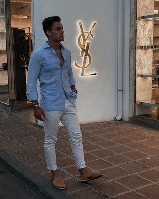 Sandals Outfits For Men: A light blue long sleeve shirt and white chinos matched together are a great match. Introduce an easy-going feel to by slipping into sandals.