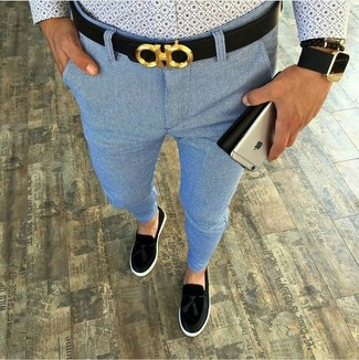 How to wear: light blue print long sleeve shirt, light blue chinos, black suede tassel loafers, black leather belt