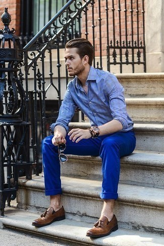 How to Wear Brown Leather Tassel Loafers: This combination of a blue plaid long sleeve shirt and blue chinos is very easy to imitate and so comfortable to sport as well! Finish off your look with a pair of brown leather tassel loafers to mix things up.
