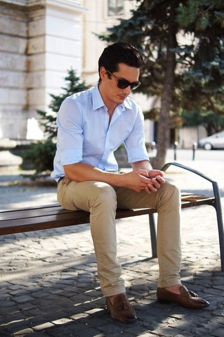 The versatility of a light blue long sleeve shirt and khaki chino pants makes them investment-worthy pieces. Channel your inner Ryan Gosling and choose a pair of brown leather tassel loafers to class up your look.