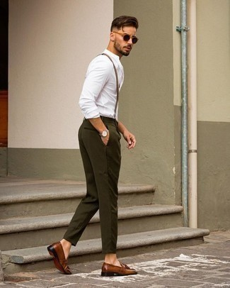 Olive Chinos Outfits: Team a white long sleeve shirt with olive chinos for a laid-back and fashionable ensemble. To add a little fanciness to this outfit, complete your look with a pair of brown leather tassel loafers.
