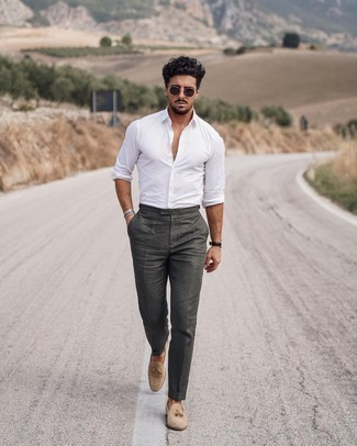 Long Sleeve Shirt with Tassel Loafers Outfits: For comfort dressing with a modern take, you can rock a long sleeve shirt and olive chinos. Tassel loafers will give a dash of class to an otherwise everyday outfit.