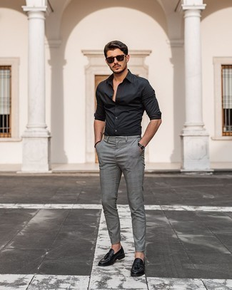 Black Long Sleeve Shirt with Plaid Pants Outfits For Men: To assemble a relaxed casual menswear style with a modern twist, wear a black long sleeve shirt and plaid pants. A pair of black leather tassel loafers immediately elevates any look.