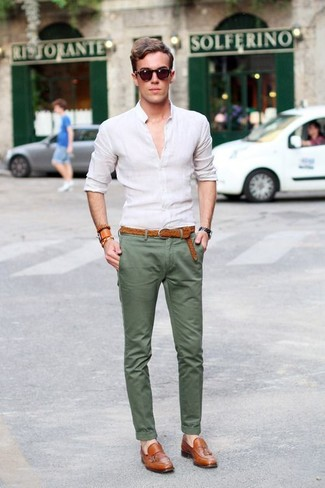 Men's White Long Sleeve Shirt, Olive Chinos, Tobacco Leather Tassel Loafers, Tobacco Woven Leather Belt