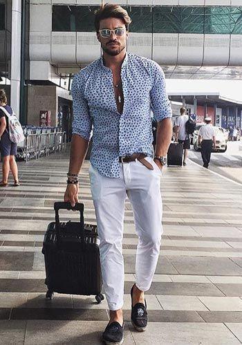 Men s Light Blue Print Long Sleeve Shirt, White Chinos, Dark Brown Suede  Tassel Loafers, Brown Leather Belt   Men s Fashion 34e69d579c4
