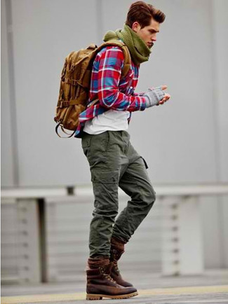 How to wear: red plaid long sleeve shirt, white crew-neck t-shirt, olive cargo pants, burgundy leather casual boots