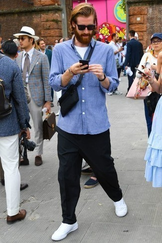 Men's Looks & Outfits: What To Wear In 2020: For an ensemble that provides comfort and fashion, pair a light blue horizontal striped long sleeve shirt with black chinos. When it comes to footwear, introduce a pair of white canvas low top sneakers to your outfit.