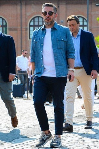 Blue Shoes with Navy Pants Outfits For