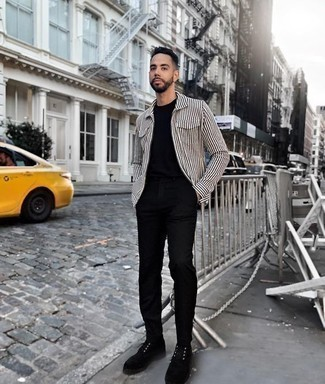Men's Looks & Outfits: What To Wear Smart Casually: A white and black vertical striped long sleeve shirt and black chinos have become bona fide wardrobe must-haves for most guys. Let's make a bit more effort now and complete this outfit with a pair of black suede derby shoes.