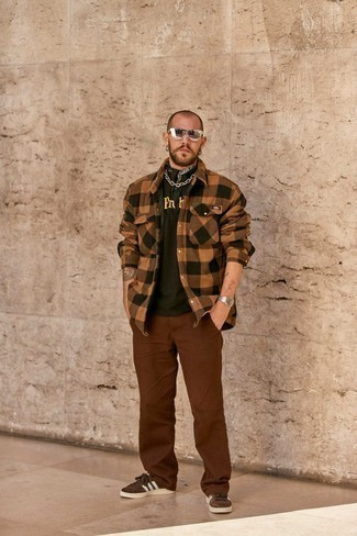 Bandana Outfits For Men: Rock a brown check flannel long sleeve shirt with a bandana for comfort dressing with a contemporary spin. Here's how to elevate this look: dark brown suede low top sneakers.