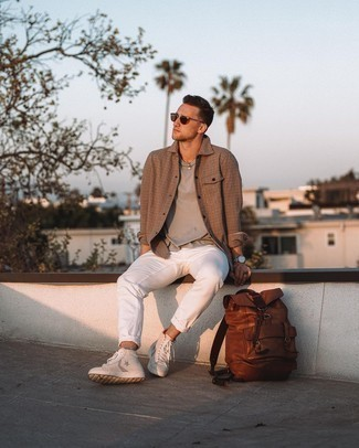 500+ Warm Weather Outfits For Men: This combo of a brown check long sleeve shirt and white chinos is great for casual settings. White star print leather high top sneakers are the most effective way to power up your ensemble.