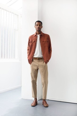 Sandals Outfits For Men: This pairing of an orange long sleeve shirt and beige chinos is impeccably stylish and yet it looks casual enough and ready for anything. Dress down this ensemble by finishing with sandals.