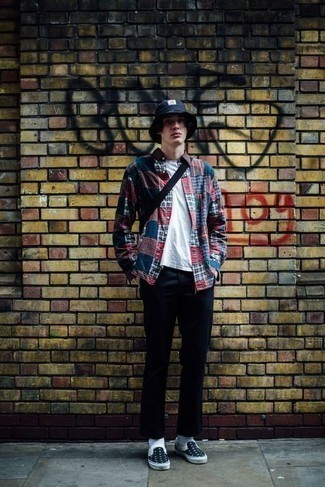 Bucket Hat Outfits For Men: A multi colored plaid long sleeve shirt and a bucket hat are a good getup to add to your casual styling repertoire. Complement your ensemble with a pair of navy and white canvas slip-on sneakers to mix things up.